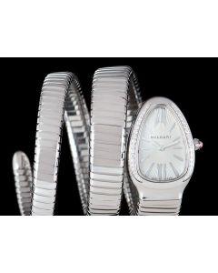 Bvlgari Serpenti Tubogas Ladies Stainless Steel Silver Opaline Dial Diamond Set Bezel SP35C6SDS.2T