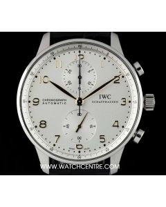 IWC Stainless Steel Silver Dial Portuguese Chronograph Gents IW371445