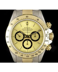 Rolex Zenith Movement Cosmograph Daytona Stainless Steel & 18k Yellow Gold Rare Mark I Floating Dial B&P 16523