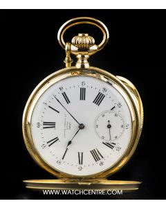 J.Attes Freres 18k Yellow Gold White Enamel Dial Full Hunter Vintage Pocket Watch