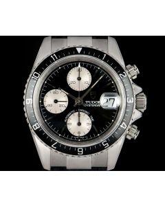 Tudor Oysterdate Chronograph Gents Big Block Stainless Steel Black Baton Dial 79270