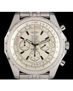 Breitling For Bentley 6.75 Chronograph Stainless Steel Silver Baton Dial A44362