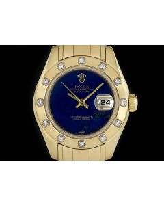 Rolex Pearlmaster Datejust Women's 18k Yellow Gold Lapis Lazuli Dial Diamond Set B&P 69318