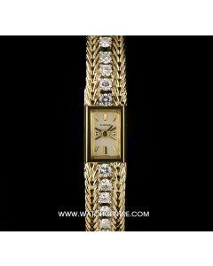 Blancpain 18k Yellow Gold Silver Baton Dial Diamond Set Cocktail Ladies Watch