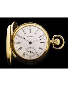 Waltham Full Hunter Pocket Watch Vintage Gents 18k Yellow Gold White Enamel Dial