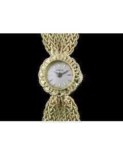 Gubelin 18k Yellow Gold Silver Baton Dial Vintage Ladies Wristwatch