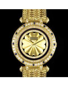 DeLaneau Unworn Dress Watch NOS Ladies 18k Yellow Gold Champagne Dial Diamond & Sapphire Set