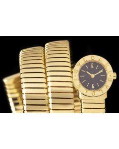 Bvlgari Tubogas Ladies 18k Yellow Gold Black Dial BB191T