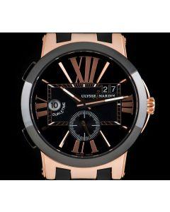Ulysse Nardin Executive Dual Time Gents 18k Rose Gold Black Dial B&P 246-00