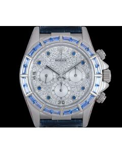 Rolex Rare Zenith Movement Cosmograph Daytona Men's 18k White Gold Pave Diamond Dial Sapphire Set 16589SACI