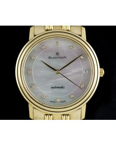 Blancpain 18k Yellow Gold Mother Of Pearl Diamond Dial Gents Dress Watch