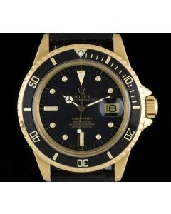 Rolex 18k Yellow Gold Rare Nipple Dial Omani Crest Submariner Date B&P 1680