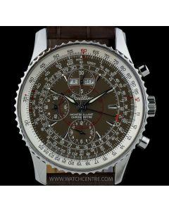 Breitling Stainless Steel Brown Dial Datora Montbrillant Gents Wristwatch B&P A21330