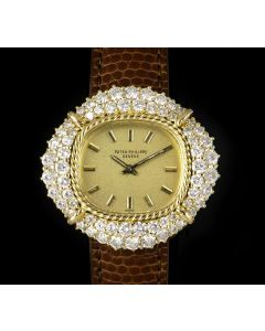 Patek Philippe Cocktail Women's 18k Yellow Gold Champagne Gilded Dial Diamond Set 4277/1