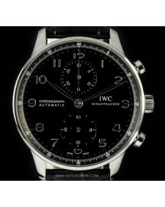 IWC Unworn Stainless Steel Black Dial Portuguese Chronograph B&P IW371447