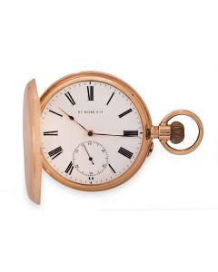 Henry Moser Full Hunter Pocket Watch Vintage Gents 14k Rose Gold White Enamel Dial