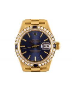 Rolex Datejust Women's 18k Yellow Gold Blue Dial Diamond & Sapphire Bezel 69088