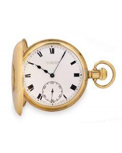 J.W. Benson Half Hunter Pocket Watch Vintage Men's 9k Yellow Gold White Enamel Dial