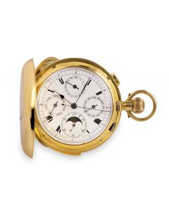 Full Hunter Minute Repeating Calendar Pocket Watch Vintage Men's 18k Yellow Gold White Enamel Dial