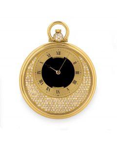 Breguet Open Face Dress Pocket Watch Men's 18k Yellow Gold Onyx Centre Diamond Set 1730BA