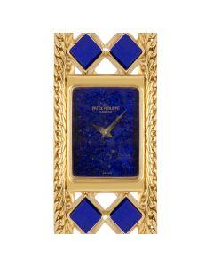 Patek Philippe Rare Dress Watch Vintage Women's 18k Yellow Gold Lapis Lazuli Set 4241