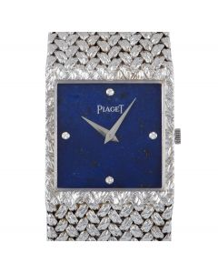 Piaget Dress Watch Men's 18k White Gold Lapis Lazuli Diamond Dial 934D2