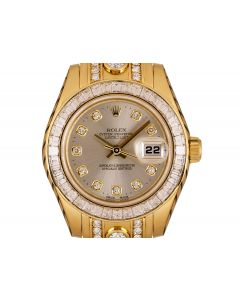 Rolex Datejust Pearlmaster Women's 18k Yellow Silver Dial Diamond Set 80308BR