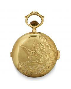 Full Hunter Quarter Repeater Chronograph Art Nouveau Pocket Watch Vintage Men's 18k Yellow Gold White Enamel Dial