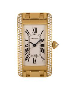 Cartier Tank Americaine Mid-Size 18k Yellow Gold Silver Guilloche Dial Diamond Set WB7043JQ