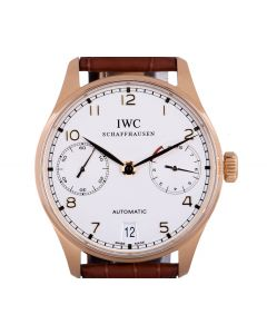 IWC Portuguese 7 Day Men's 18k Rose Gold Silver Dial IW500101