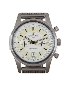 Breitling Limited Edition Transocean Chronograph Men's Stainless Steel Silver Dial AB015412/G784/154A