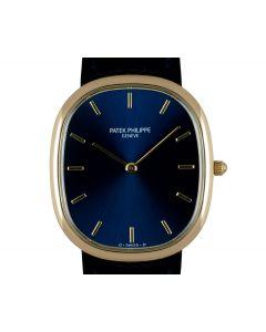 Patek Philippe Golden Ellipse Men's 18k Yellow Gold Sunburst Blue Dial 3738/100