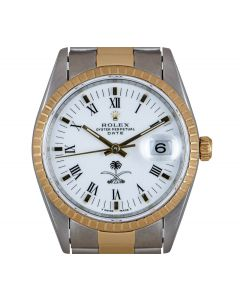 Rolex Date Men's Stainless Steel & 18k Yellow Gold White Saudi Arabian Crest Dial 15223
