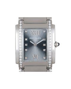 Patek Philippe Twenty~4 Women's Stainless Steel Slate-Grey Dial Diamond Set 4910/10A