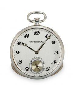 Patek Philippe Open Face Pocket Watch Bassine Style Vintage Men's 18k White Gold Double Name Grottendieck