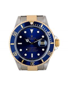 Rolex Submariner Date Men's Stainless Steel & 18k Yellow Gold Blue Dial 16613