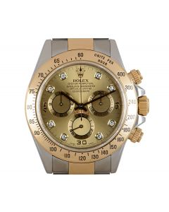 Rolex Cosmograph Daytona Men's Stainless Steel & 18k Yellow Gold Champagne Diamond Dial 116523