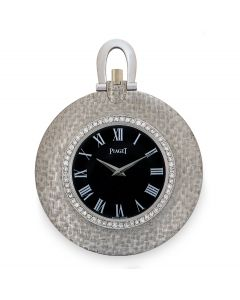 Piaget Open Face Diamond Set White Gold Dress Pocket Watch