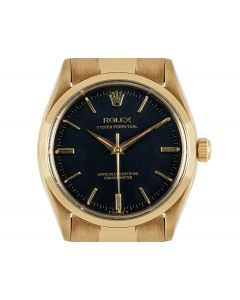 Rolex Oyster Perpetual Vintage Men's 9k Yellow Gold Black Dial 6564/6