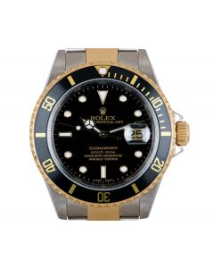 Rolex Submariner Date Men's Stainless Steel & 18k Yellow Gold Black Dial 16613