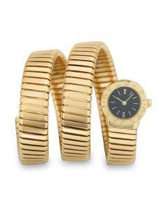 Bvlgari Tubogas Women's 18k Yellow Gold Black Dial BB191T