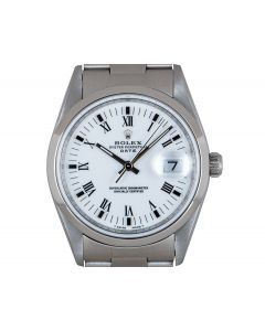 Rolex Oyster Perpetual Date Steel White Dial Men's 15200