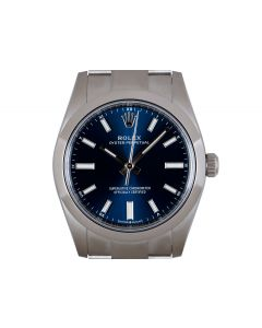 Rolex Unworn Oyster Perpetual 34 Mid-Size Stainless Steel Bright Blue Dial B&P 124200
