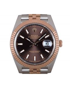 Rolex Datejust 41 Men's Stainless Steel & 18k Rose Gold Chocolate Dial B&P 126331