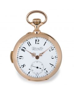 Audemars Freres Rare Open Face Minute Repeater Pocket Watch Antique Rose Gold