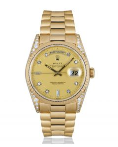 Rolex Day-Date Yellow Gold Champagne Dial Diamond Set 18338