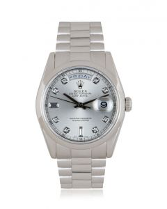 Rolex Day-Date Platinum Silver Diamond Dial 118206