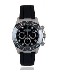 Rolex Unworn Daytona Oysterflex White Gold Black Diamond Dial B&P 116519LN