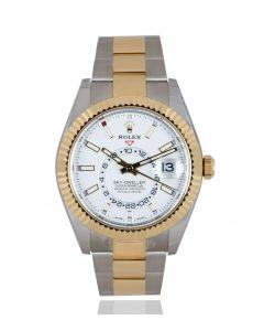 Rolex Unworn Sky-Dweller Stainless Steel & Yellow Gold Intense White Dial B&P 326933