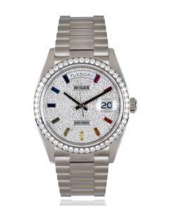 Rolex Day-Date 36 White Gold Diamond-Paved Rainbow Sapphire Dial Diamond Bezel B&P 128349RBR
